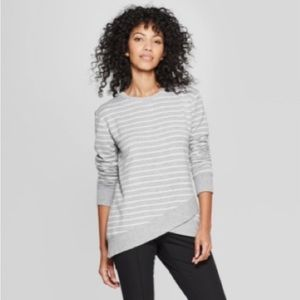 A NEW DAY Striped Cross Front Long Sleeve Top S